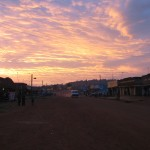 Nkokonjeru's main drag at sunset