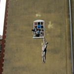 some art, by the great Banksy, on a building in Bristol