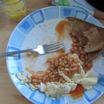 classic British breaky- baked beans, eggs, toast, plenty of butter