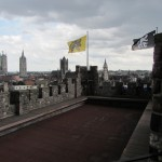 on the roof of the city's castle