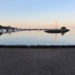 sun rising on Helsinki's harbor
