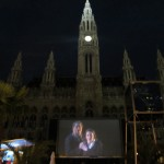 outdoor opera on a screen at city hall, oh Vienna