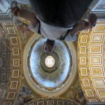 view from below of St. Peter's Basilica at the Vatican