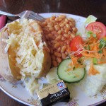 a proper jacket potato with beans